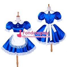 Fond Cosplay : Satin - O Dress Gothic Clothing School Uniforms Lolita Clothing Medieval Gown Venice Carnival Movie Costumes Cosplay Wig Cosplay Shoes Anime Costumes Game Costumes Other Costumes Cosplay Accessories Sissy Maid Uniform New Arrival Blue Satin Dress, Satin Dresses, Sexy Dresses, Blue Dresses, Short Dresses, Satin Bleu, Maid Uniform, Sissy Maid, Maid Dress