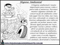 Atividade sobre Higiene Ambiental Comics, Words, Small Bathroom, Diy Furniture, Environmental Health, Reading Activities, Literacy Activities, World Days, Index Cards