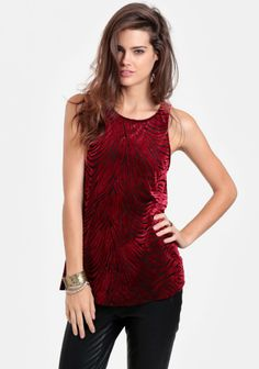 Red Rose Velvet Burnout Tank by Everly Clothing Stylish Outfits, Stylish Clothes, Mode Grunge, True Beauty, How To Look Pretty, Red Roses, Autumn Fashion, Camisole Top, Velvet