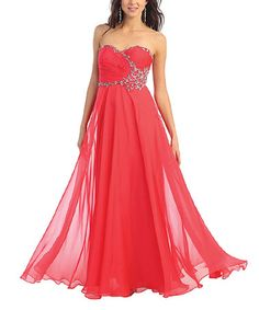 This Coral Chiffon Strapless Gown & Shawl is perfect! #zulilyfinds