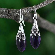 Amethyst dangle earrings 'Kerala Princess' - Sterling Silver and Amethyst Dangle Earrings