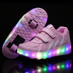 Children LED Sneakers Luminous Shoes with Double Wheels Children Skates USB Charging Glowing Sneakers Hidden Heel Sneaker 325