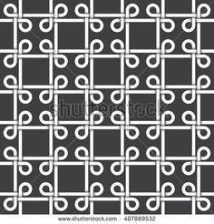 #Abstract #repeatable #pattern #background of white twisted strips bands with black strokes. Swatch of intertwined bands in squares form with loops. Seamless pattern in vintage style.