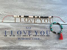 Don't just say I LOVE YOU.spell it out! Morse code Mala bracelet - meditate + manifest with reiki charged gemstones with a secret message to yourself, the universe or that someone special. Beaded Jewelry, Handmade Jewelry, Beaded Bracelets, String Bracelets, Jewellery, Necklaces, Morse Code Words, Morse Code Bracelet, Ideias Diy
