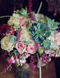 Succulent Wedding Boquet - not these colors/flowers, but love it!