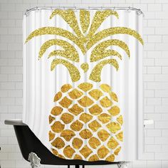 Features: -100% Original artwork design. -12 Holes. Product Type: -Shower curtain. Color: -Gold/White. Material: -Polyester. Pattern: -Graphic Print & Text. Hooks Required: -Yes. Gender: -Neut
