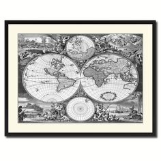 Frederick Ee Wit Vintage B&W Map Canvas Print, Picture Frame Home Decor Wall Art Gift Ideas