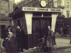 """CIE book bus tours, train tickets and get information. Saturday was a busy day with many booking tickets for """"the mystery tour"""" . Old Pictures, Old Photos, Vintage Photos, Ireland People, Images Of Ireland, Buses And Trains, Photo Engraving, Ireland Homes, Dublin City"""
