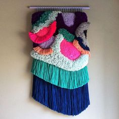 Browse unique items from jujujust on Etsy, a global marketplace of handmade, vintage and creative goods. Woven Wall Hanging, Hanging Tapestry, Colorful Tapestry, Ohh Deer, Wool Thread, Wood Sticks, Textiles, Contemporary Artists, Fiber Art