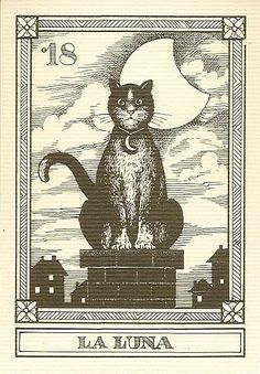 """""""La Luna"""" -- Gatti, by Osvaldo Menegazzi. The deck of 22 tarot cards was published by Il Meneghello in Italy in 1990."""