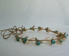 Caída de la guirnalda de pelo secado de hadas corona de la flor de Halloween Por AmoreBride