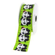 Baby Pandas Apple Green Grosgrain Ribbon, 1-1/2-inch, 10-yard
