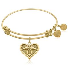 Expandable Bangle in Yellow Tone Brass with Angel Comfort Hope Symbol