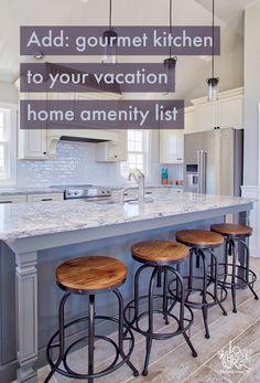 Add: gourmet kitchen to your vacation amenity list. // Outer Banks Vacation Rentals on Hatteras Island - Outer Beaches Realty Coastal Kitchens, Vacation List, Outer Banks Vacation Rentals, Hatteras Island, My Ideal Home, One Bedroom, Beaches, Luxury, Furniture