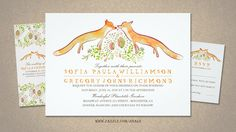 Cute whimsical and rustic wedding invitations with two foxes surrounded by woodland flowers. Fox love hip wedding invites for trendy animals and nature inspired weddings. Matching items: fox couple...