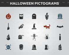 Set of flat design Halloween icons and pictograms stock vector art 71061225 - iStock