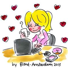 Blond Amsterdam - At work Blond Amsterdam, Doodle, Funny Paintings, Happy Paintings, Drawing Sketches, Drawings, Cartoon Faces, Art Academy, Illustration Girl