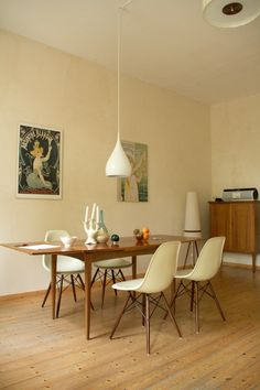 wood dining room, white chairs