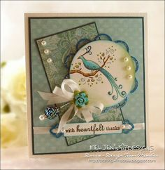 a thank you card using Spellbinders dies, one of my bow pins and a Meljen's Designs digital image