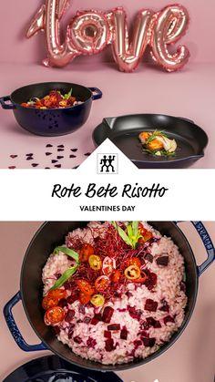 Zum Valentinstag haben wir ein ganz besonderes Rezept für euch: Rote Bete Risotto mit frischen Kirschtomaten und Rote Bete Sprossen. #rotebete #risotto #cherrytomatoe #kirschtomaten #parmesan #rezept #valentinstag #valentinesday Risotto, Dessert, Parmesan, Valentines Day, Breakfast, Food, Sprouts, Twin, Beetroot