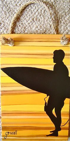 Surfer HandPainted in Colorado by glenn grassi  7 X 11 by RoomCharms, $35.00
