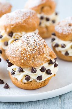 Cannoli Cream Puffs.  Homemade pastry puffs stuffed with ricotta, mascarpone, powdered sugar and mini chocolate chips??  'Nuff said, gotta make em!