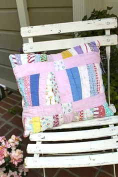 Pillow Made With Vintage Hand Sewn Quilt by MySoulfulHome on Etsy, $30.00
