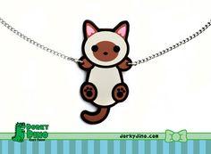 Hanging Cat Necklace Siamese Burmese Tonkinese Kitten by DorkyDino, $10.00