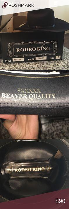 Felt Cowboy hat Rodeo King 5XXXXX Beaver Quality Rodeo King 5X Beaver Quality Cowboy hat. Gently used. EXCELLENT CONDITION. No marks/scratches no blemishes perfect condition!! Size 7 and 1/8! Rodeo King Accessories Hats