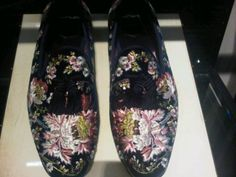 Embroidered slippers at Tom Ford