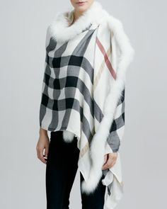 Burberry Fox Fur-Trim Woven Check Scarf, Ivory - Neiman Marcus