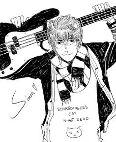 Cassandra Jean Cassandra Clare Simon from the Mortal Instruments! Complete with totally geeky tshirt and bass guitar. Guitars are harder to draw than they look. And I just sneezed so hard my eye started to twitch. Cassandra Jean, Cassandra Clare Shadowhunters, Cassandra Clare Books, Shadowhunters Tv Show, Shadowhunters The Mortal Instruments, Simon Lewis, Immortal Instruments, Lady Midnight, Shadowhunter Academy