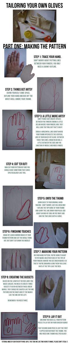 Gloves Tutorial: Part I, Making a Pattern by Eightohsixtythird.deviantart.com on @deviantART