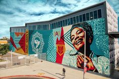Shepard Fairey, JR, and Other Artists Painted Murals Honoring Maya Angelou at a High School—See Them Here Mural Painting, Mural Art, Artist Painting, Wall Art, Yarn Bombing, Shepard Fairy, Les Stickers, Street Installation, School Murals
