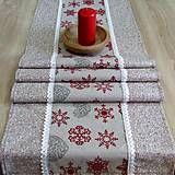 Úžitkový textil - Režné Vianoce vločky a srdiečka s bodkami - stredový obrus 140x40 - 7323450_