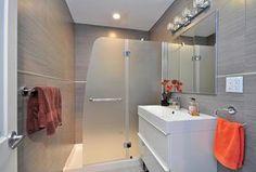 Contemporary 3/4 Bathroom with West Elm Absorbent Lightweight Towels, European Cabinets, frameless showerdoor, High ceiling