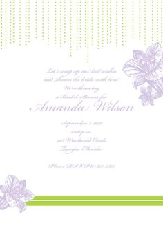 Lily Bridal Shower Invitations. Color changeable lilies, fonts, background.