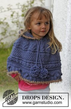 """Knitted DROPS poncho with textured pattern and hood in """"Nepal"""". Pompoms and crochet edges in Symphony. Size 3 - 12 years. ~ DROPS Design"""