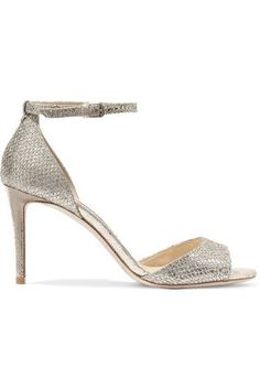 Jimmy Choos. Heel measures approximately 85mm/ 3.5 inches Champagne glittered leather Buckle-fastening ankle strap