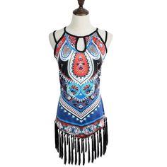 New Fashion Women Tank Top Geometric Print Tassel Hem Hollow Out Design Ethnic Vest Blue