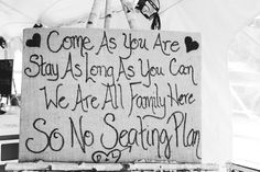 rustic no seating plan sign for wedding reception