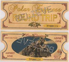 Polar Express Punched Golden Keepsake Ticket Original Size by Santas Christmas Town