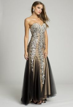 e16cd0c5d2 Long Dresses - Sequin Motif with Mesh Godets from Camille La Vie and Group  USA Prom