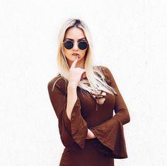 #Vestido Patricia, #viscolycra, com #mangasfalare e #decote trançado #moda #inverno2016 #look