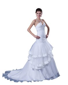 lindadress.com Offers High Quality White Strapless Organza Layered Skirt Mermaid Wedding Dress With Beading,Priced At Only USD USD $210.00 (Free Shipping)