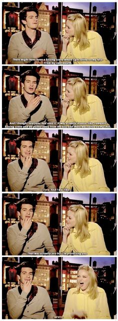 I've run out of things to say in these descriptions. Words cannot describe how cute they are. Andrew Garfield and Emma Stone