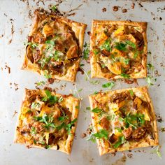 Caramelised onion, leftover cheese and roast veg tarts