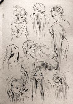 tips for drawing hair in art illustration graphics manga , anime style Hair Sketches - Figure Drawing, Drawing Reference, Drawing Practice, Anatomy Reference, Drawing Lessons, Drawing Sketches, Art Drawings, Sketching, Pencil Drawings