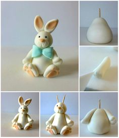 a rabbit in sugar paste. 10 tutorials of cake decorations and d . Make a rabbit in sugar paste. 10 tutorials of cake decorations and d . Fondant Cake Tutorial, Fondant Cake Toppers, Fondant Cakes, Cupcake Toppers, Cake Decorating Techniques, Cake Decorating Tutorials, Cookie Decorating, Fondant Figures, Deco Cupcake
