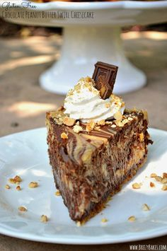 Chocolate and peanut butter meet for a sinful treat in this mouthwatering Gluten Free Chocolate Peanut Butter Swirl Cheesecake.